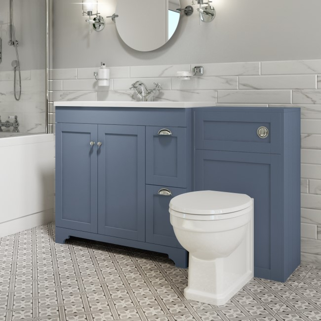 1400mm Toilet and Basin Combination Unit - Traditional Toilet - Blue - Baxenden