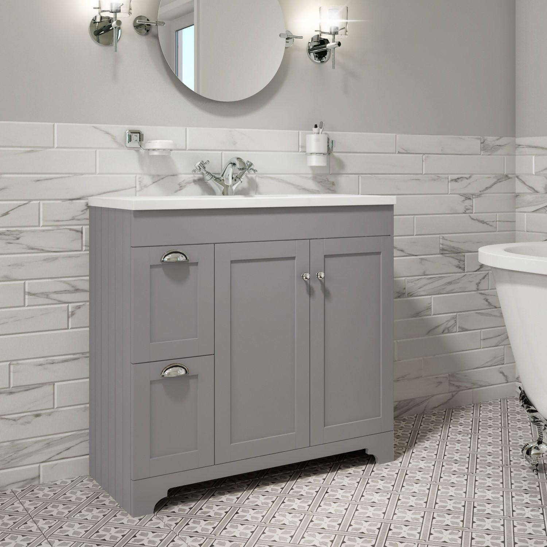 900mm Grey Freestanding Vanity Unit, Bathroom Vanity Freestanding Sink