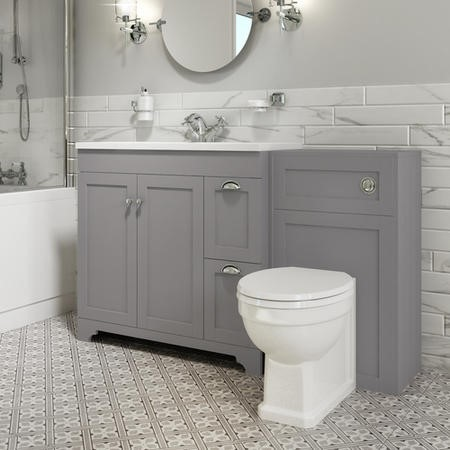 1400mm Toilet and Basin Combination Unit - Traditional Toilet - Grey - Baxenden