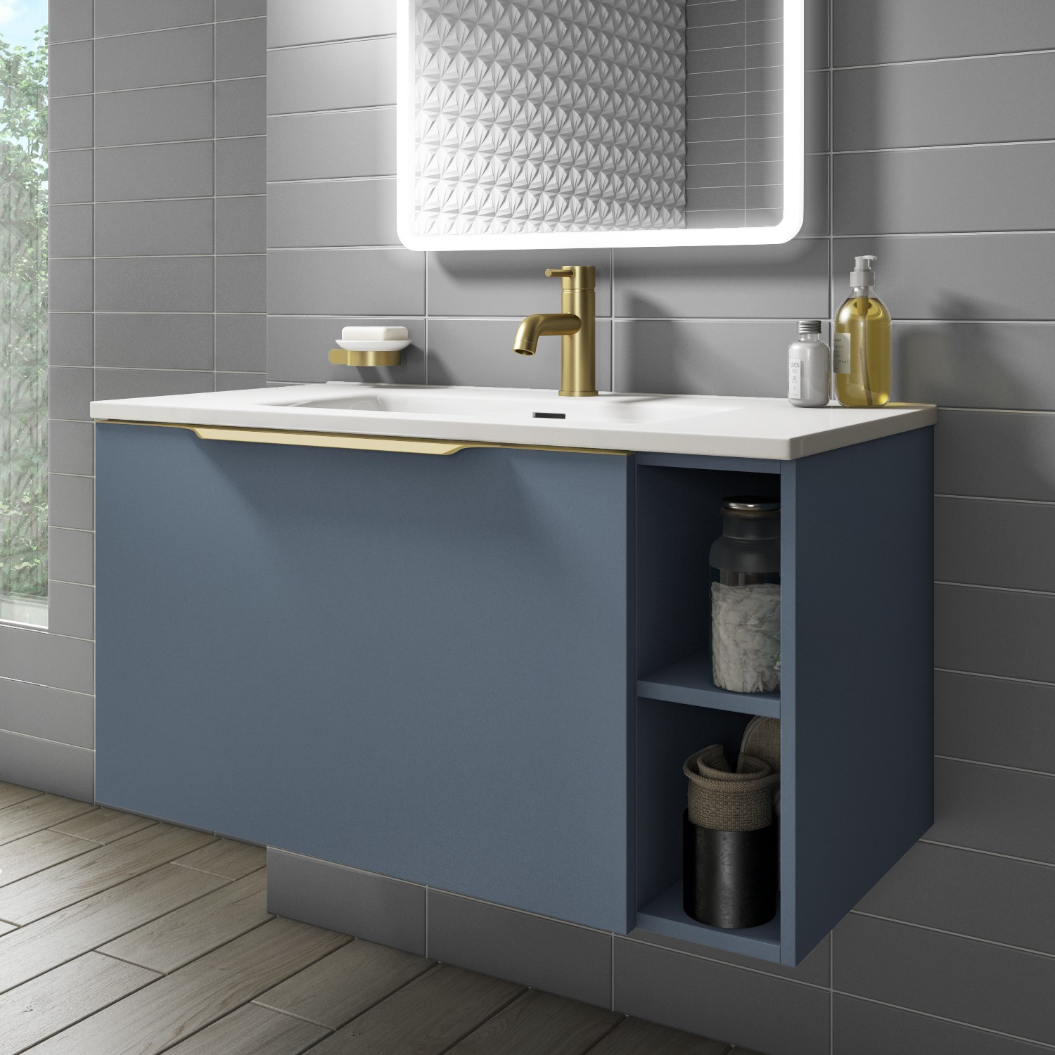 900mm Wall Hung Vanity Unit With Basin Matt Blue With Gold Handle Sion Better Bathrooms