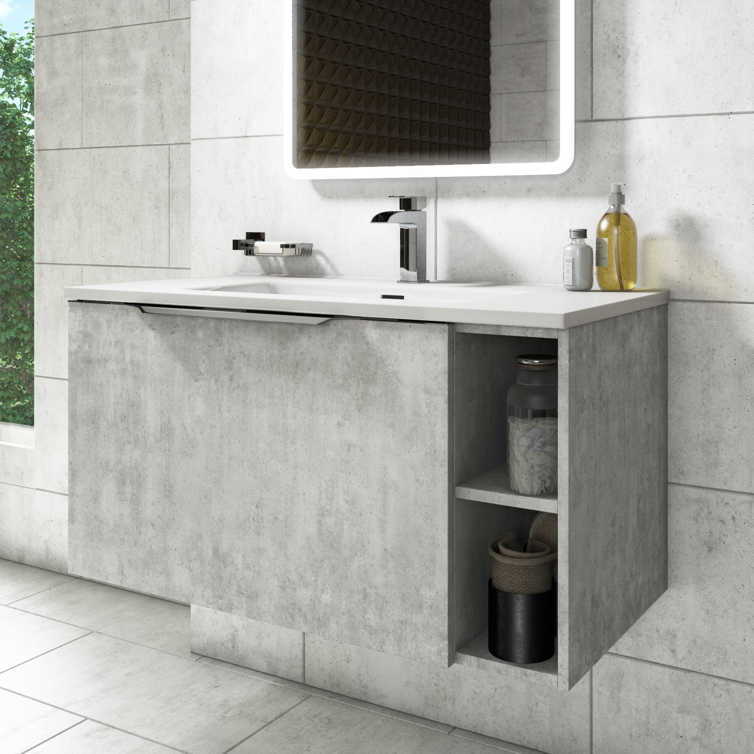 900mm Wall Hung Vanity Unit With Basin Concrete Effect Sion Better Bathrooms