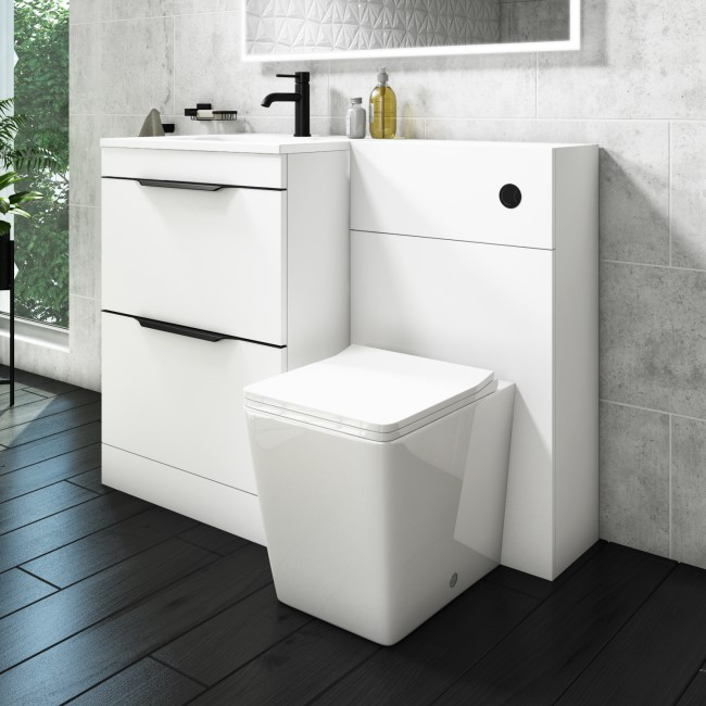 Sion Matt White 1100mm Combination Unit with Voss Back to Wall Toilet