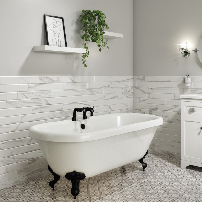 Park Royal Freestanding Double Ended Roll Top Bath White with Black Feet - 1700 x 750mm