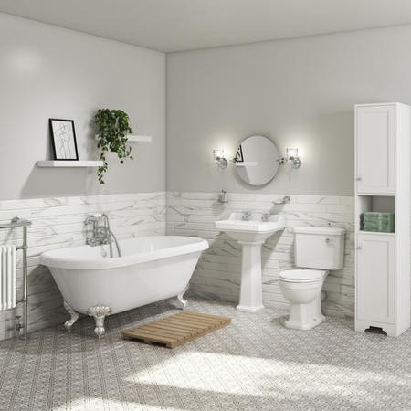 Park Royal Double Ended Freestanding Bath Suite with Toilet & Basin
