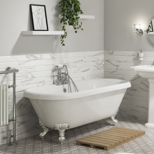 Park Royal Freestanding Double Ended Roll Top Bath White with Chrome Feet - 1515 x 740mm