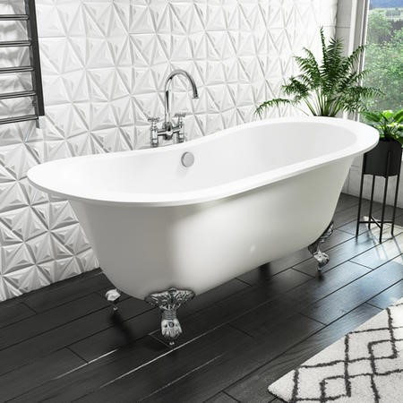 Traditional Double Ended Matt White Freestanding Bath with Chrome Feet - 1700 x 740mm