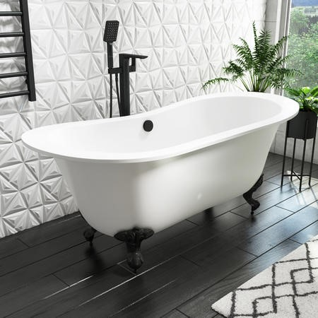 Traditional Double Ended Matt White Freestanding Bath with Black Feet - 1700 x 740mm