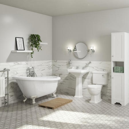 Park Royal Single Ended Slipper Freestanding Bath Suite with Toilet & Basin