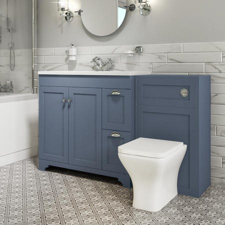 1400mm Toilet and Basin Combination Unit with Modern Toilet - Blue - Baxenden