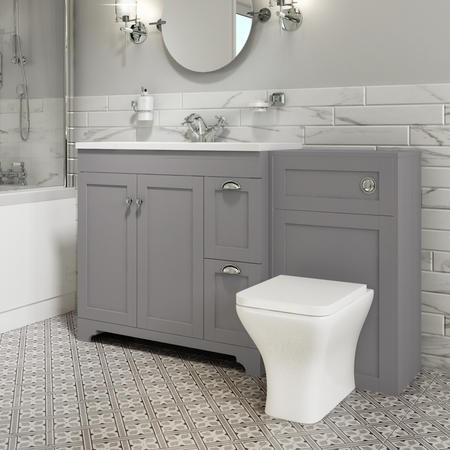 1400mm Toilet and Basin Combination Unit - Modern Toilet - Grey - Baxenden