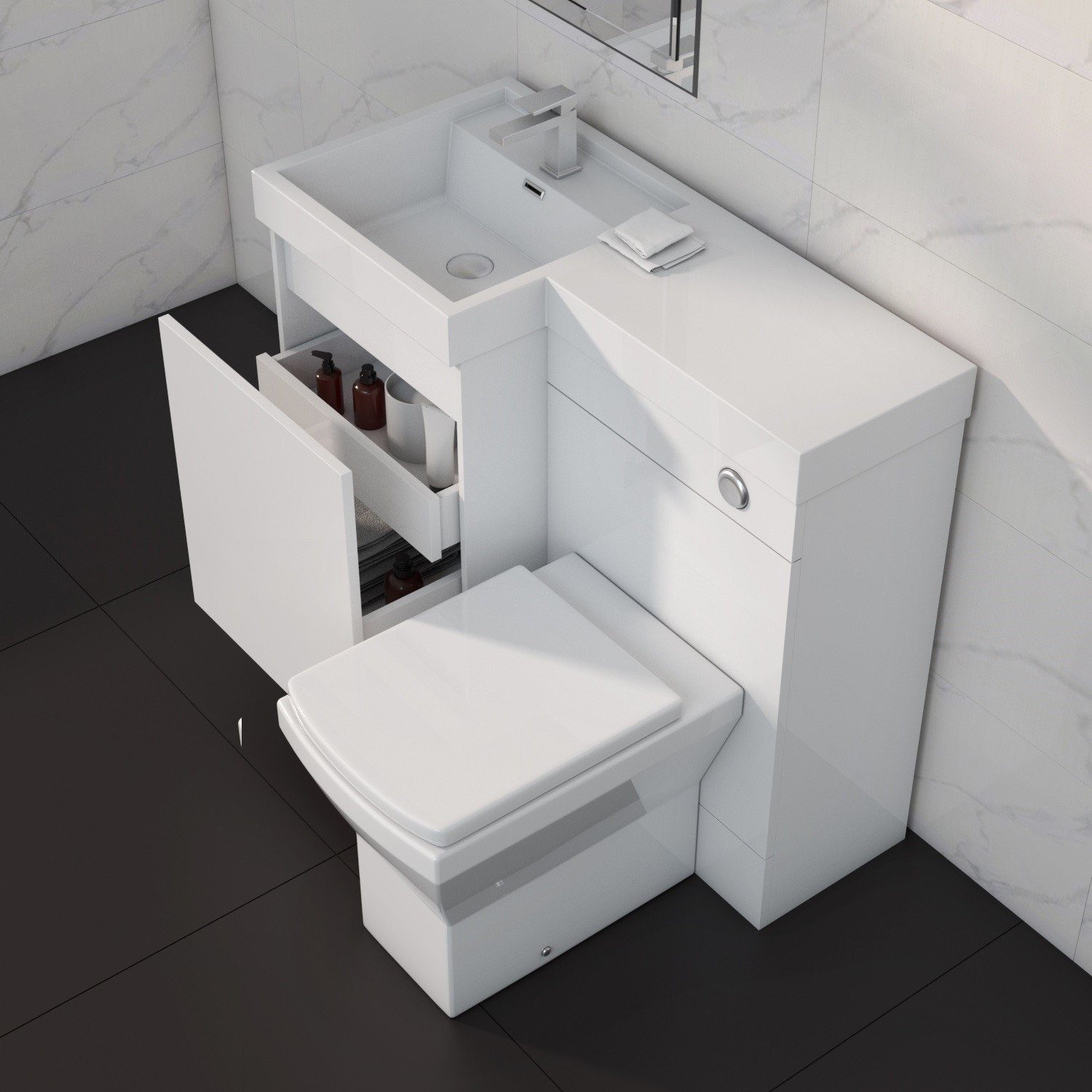 900mm Toilet And Basin Combination Unit 2 Drawers White Left Hand Agora Better Bathrooms
