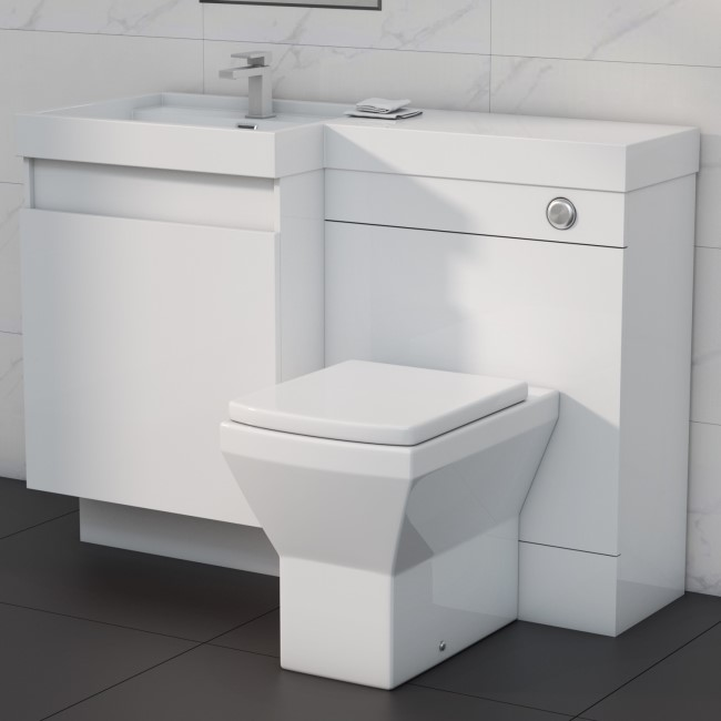 1200mm Toilet and Basin Combination Unit - 2 Drawers - White - Left Hand -Agora
