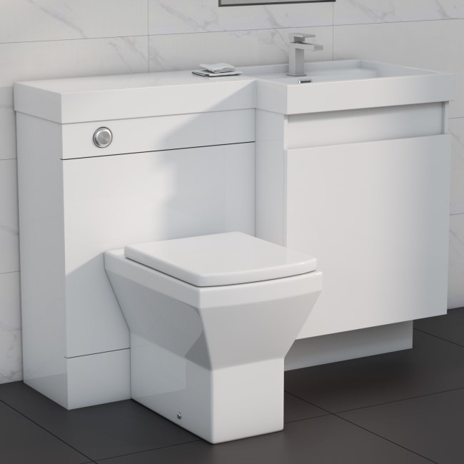 1200mm Toilet and Basin Combination Unit - 2 Drawers - White - Right Hand -Agora