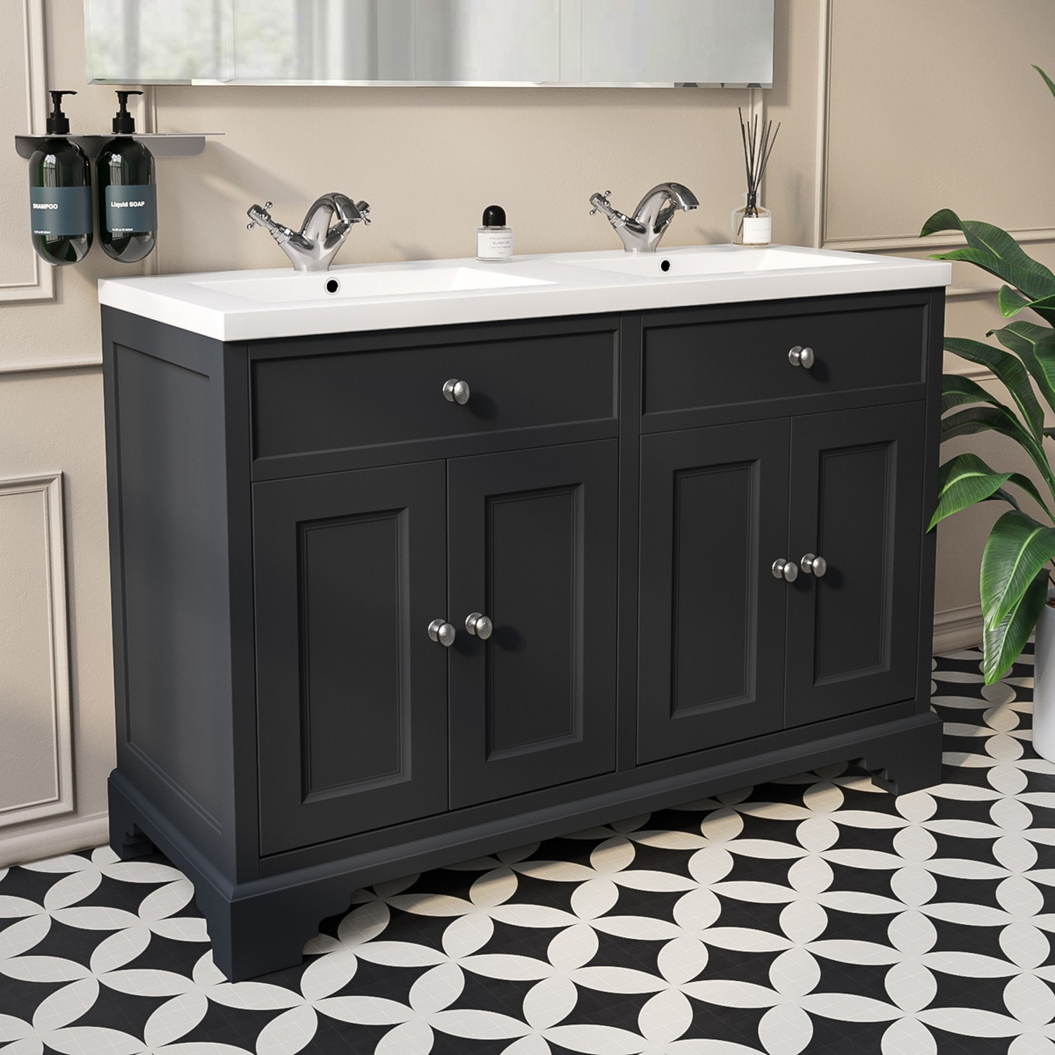 Double Basin Vanity Unit Traditional Charcoal Grey 1200mm Burford Better Bathrooms