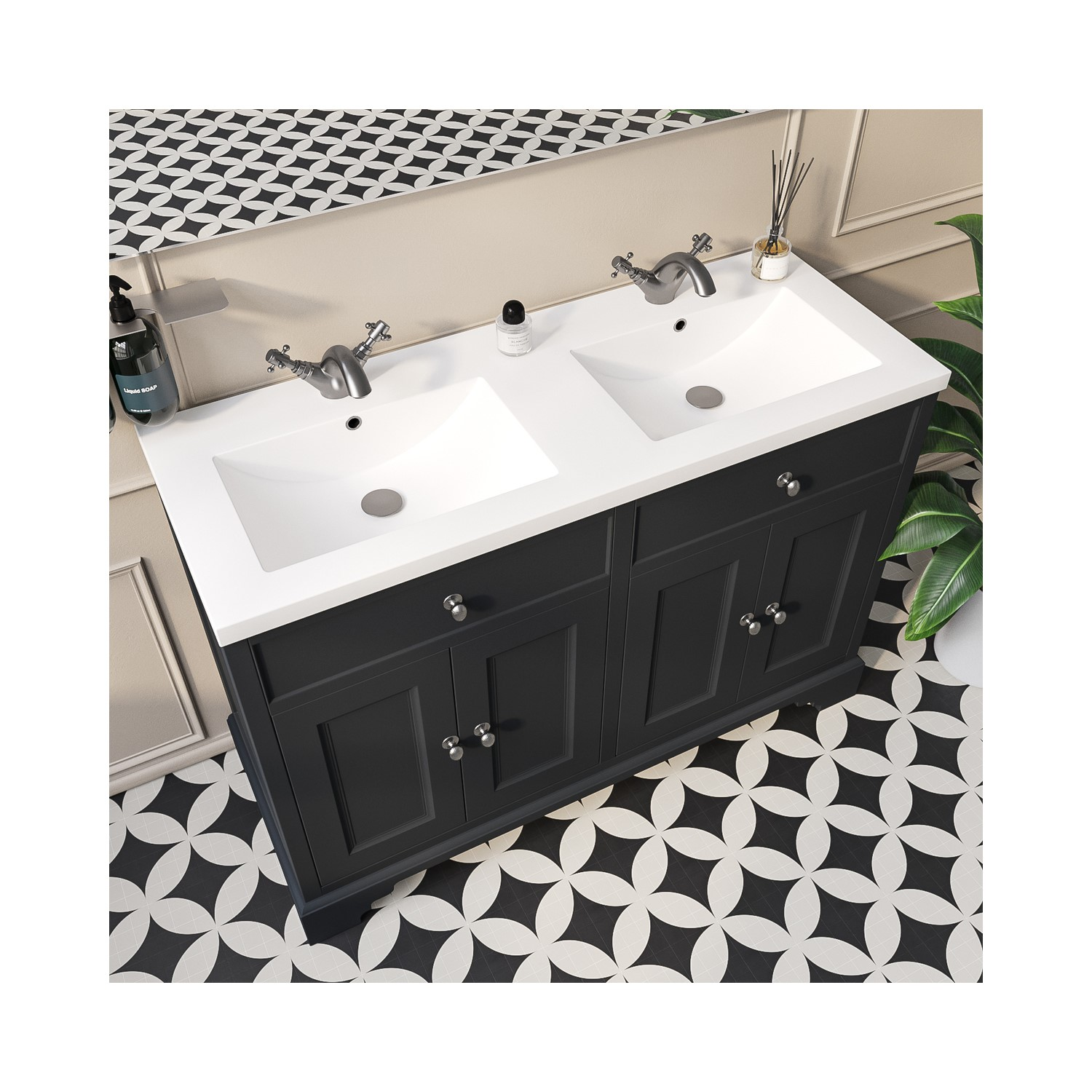 1200mm Grey Freestanding Double Vanity Unit With Basin Burford Better Bathrooms