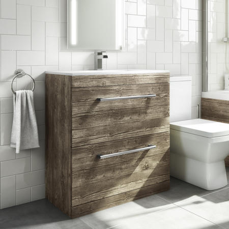 800mm Grey Wood Freestanding Vanity Unit with Basin - Ashford