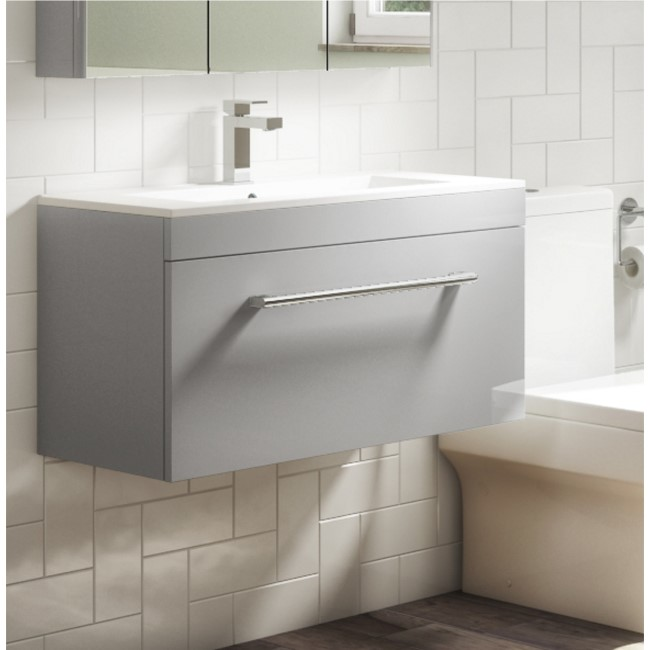 Ashford 800mm Wall Mounted Vanity Unit and Basin - Grey Gloss