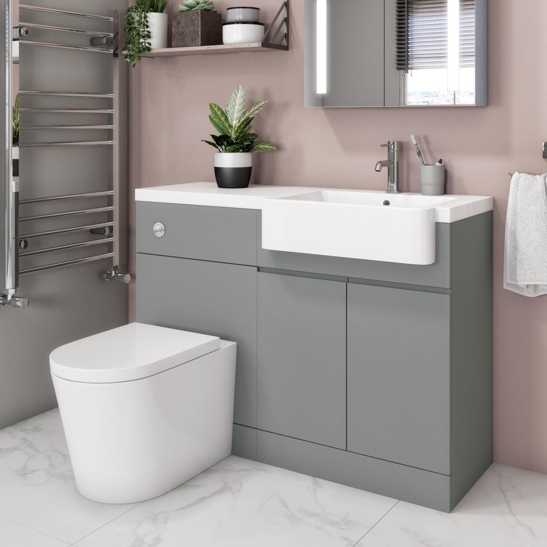 Bali Matt Grey Toilet And Basin Vanity Combination Unit 1100mm Right Hand Better Bathrooms