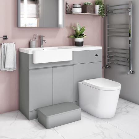 Bali Matt Grey Toilet and Basin Vanity Combination Unit 1100mm Left Hand with Child Step