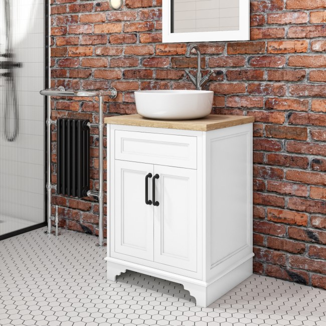 600mm White Freestanding Countertop Vanity Unit with Basin - Camden