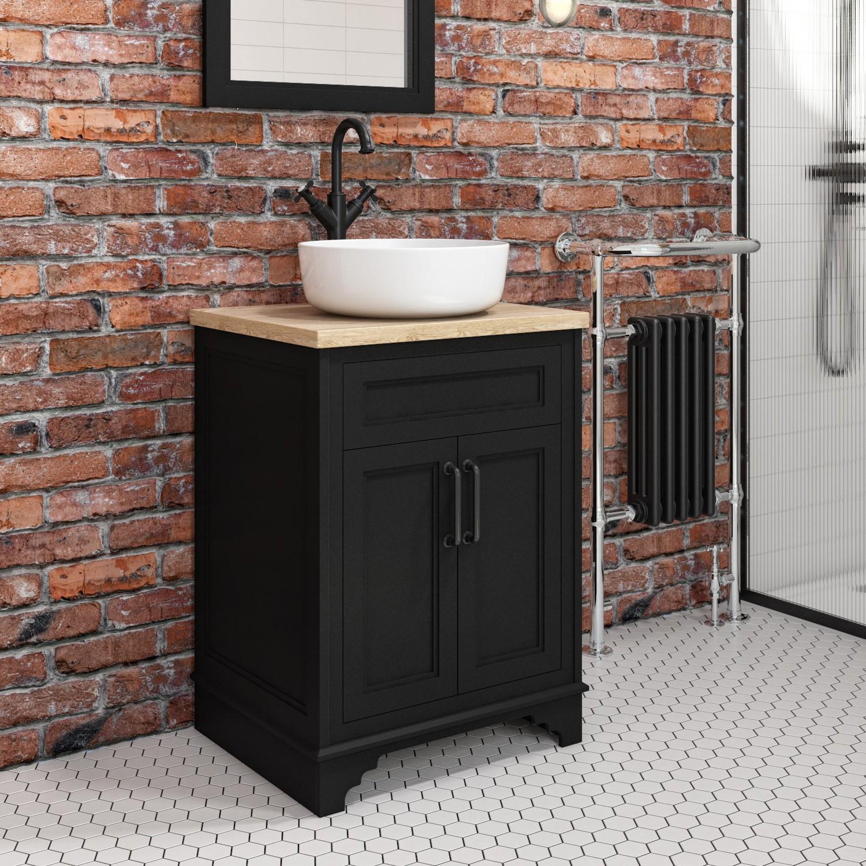 605mm Black Freestanding Countertop Vanity Unit With Basin Camden Better Bathrooms