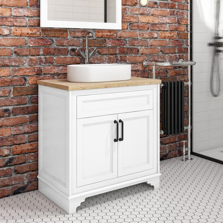 Camden Matt White 800mm Vanity Unit with Tennessee Round Countertop Basin