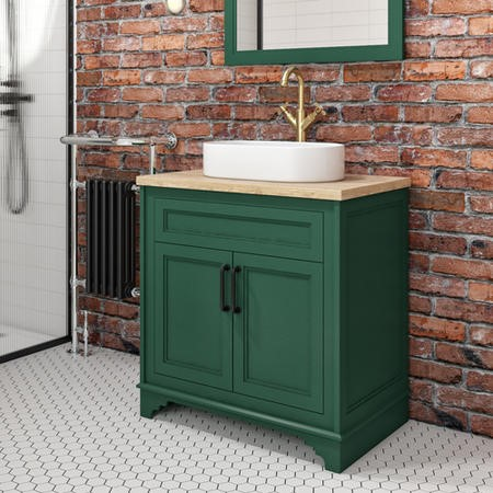 Camden Matt Green 800mm Vanity Unit with Tennessee Round Countertop Basin
