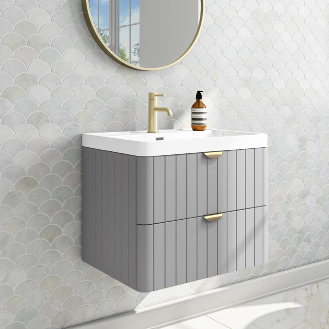Empire 600mm Wall Hung Vanity Unit - Matt Grey with Brass Handles