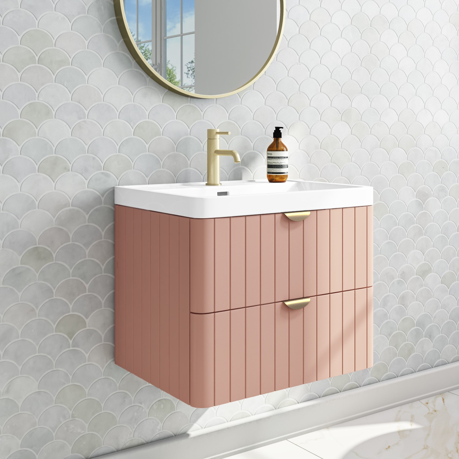 600mm Pink Wall Hung Vanity Unit With Basin Empire Better Bathrooms