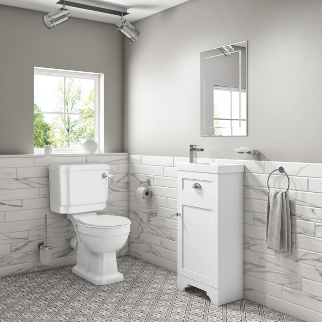Baxenden Cloakroom Toilet Suite with White Floorstanding Vanity Unit and Basin and Park Royal Toilet