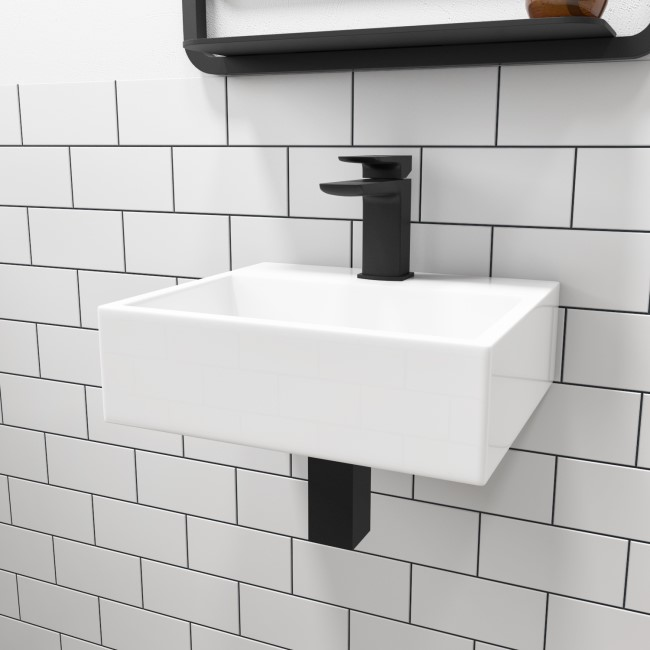 Matt White 330mm Wall Hung Basin and Waste - Houston