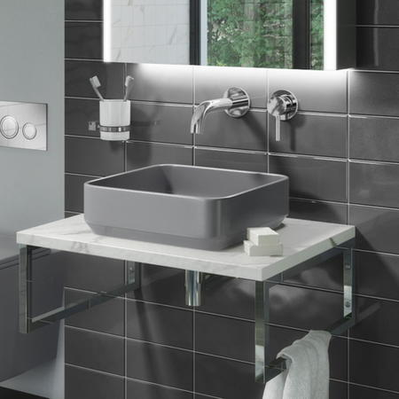 Matt Grey Square 360mm Countertop Basin and Waste - Augusta
