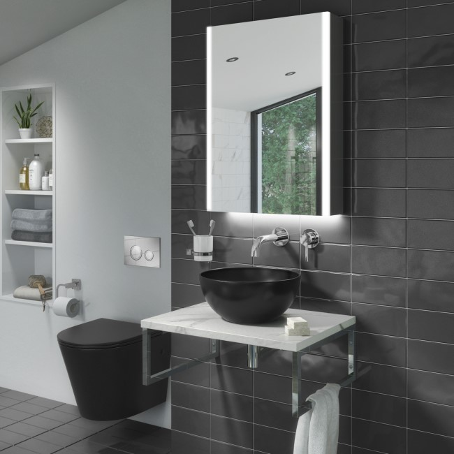 Verona Matt Black Rimless Wall Hung Toilet and Countertop Basin Suite with White Vanity Shelf