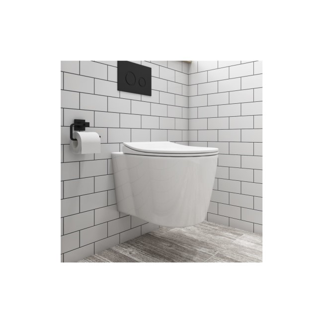 Wall Hung Toilet and Soft Close Seat with Matt Black Flush Plate 1160mm Frame and Cistern - Alcor