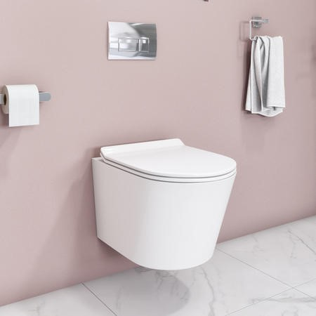Newport Rimless Wall Hung WC and Soft Close Slim Seat with Frame