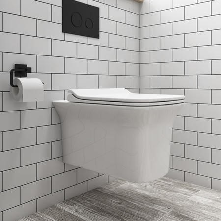 Santiago Rimless Wall Hung Toilet and Soft Close Slim Seat