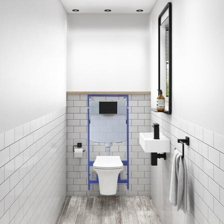 Santiago Rimless Wall Hung Toilet and Soft Close Seat with Zana Matt Black Mechanical Flush Plate 1160mm Frame and Cistern