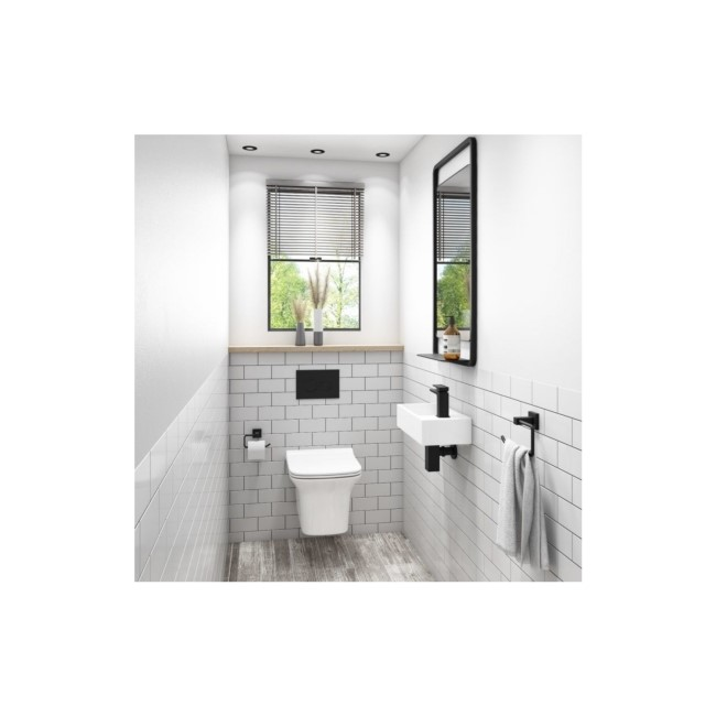 Santiago Rimless Wall Hung Toilet with Slim Seat and Wall Hung Right Hand Basin Suite