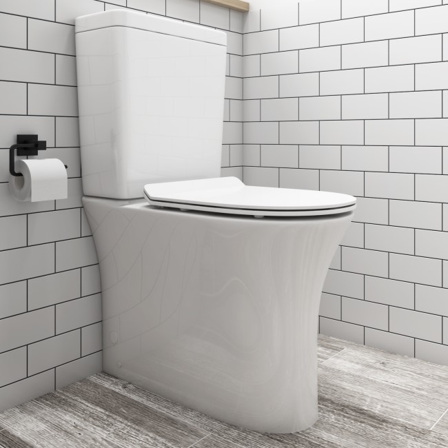Indiana Rimless Comfort Height Close Coupled Toilet and Soft Close Slim Seat