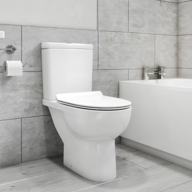 Venice Rimless Close Coupled Short Projection Toilet and Soft Close Slim Seat