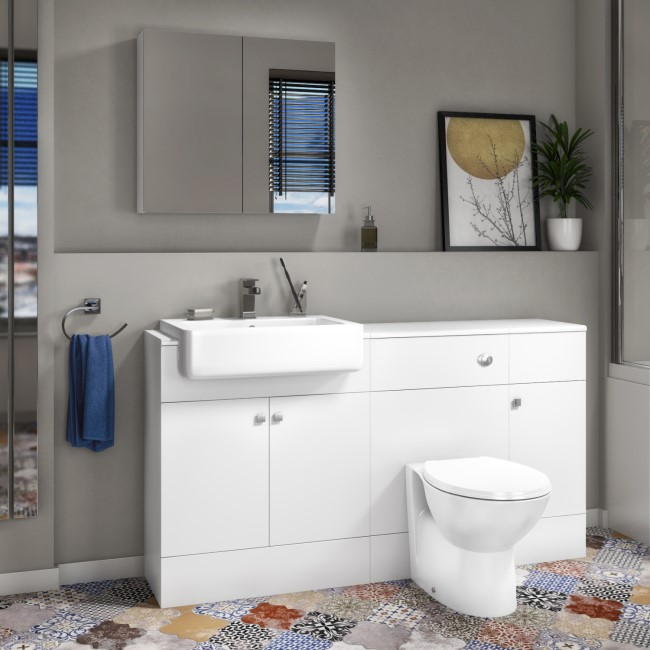 Harper Toilet Basin and Storage Combination Unit 1468mm - White Gloss