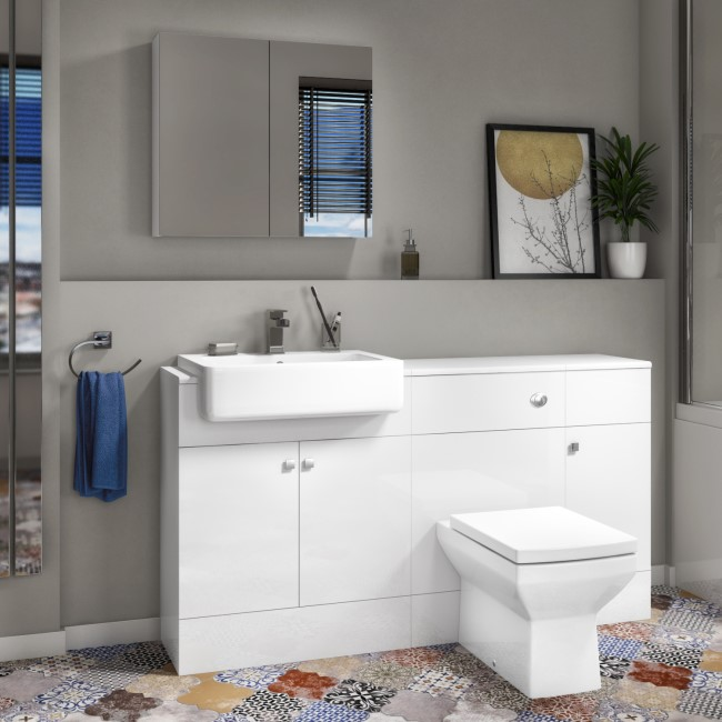 Harper Toilet Basin and Storage Combination Unit 1468mm with Square Back To Wall Toilet - White Gloss