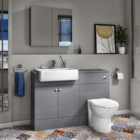 Harper Toilet and Basin Combination Unit 1167mm - Grey Lacquered