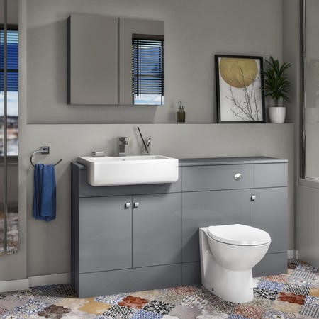 Harper Toilet Basin and Storage Combination Unit 1468mm - Grey Lacquered