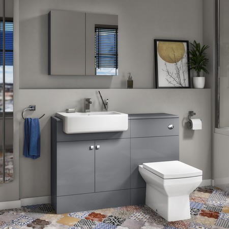 Harper Toilet and Basin Combination Unit 1167mm with Square Back To Wall Toilet - Grey Lacquered