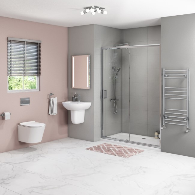 Juno 1200mm Sliding Door Newport Wall Hung Toilet and Semi Pedestal Basin Suite