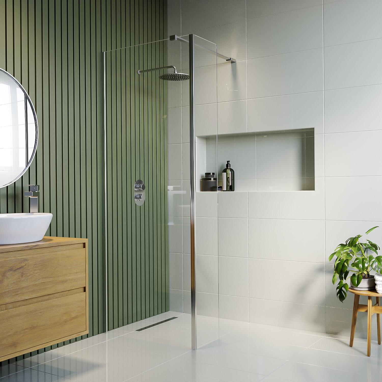 Plumbing Tools Wetroom Panel 1000mm and Return Panel 8mm Glass - Corvus Range