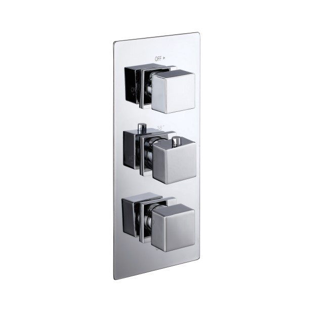 Cube square triple shower valve with diverter - 3 outlets