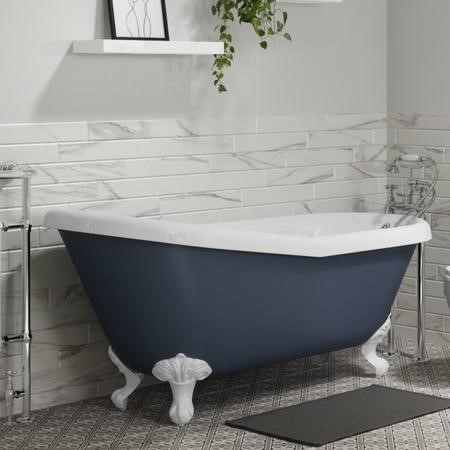 Baxenden Matt Blue Freestanding Roll Top Slipper Bath with Matt White Feet -  L1615 x W690mm