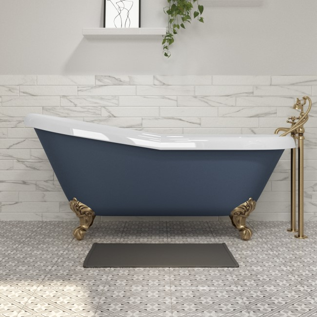 Baxenden Freestanding Single Ended Roll Top Slipper Bath Blue with Brushed Brass Feet - 1615 x 690mm